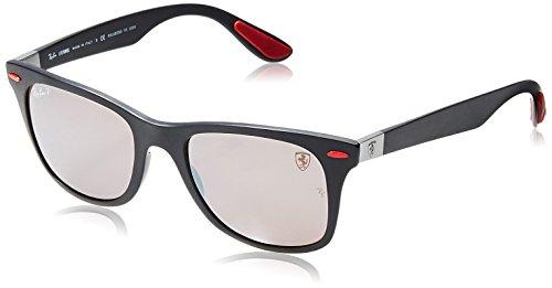 (Ray-Ban RB4195M Scuderia Ferrari Collection Wayfarer Sunglasses, Matte Black/Polarized Purple Silver Mirror, 52 mm)