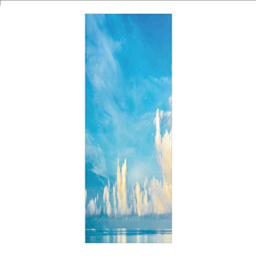 (3D Decorative Film Privacy Window Film No Glue,Ocean,Image of Crystal Clear Sea and Cloudy Sky Over it in a Sunny Day Romantic Sescape,Blue White,for Home&Office)