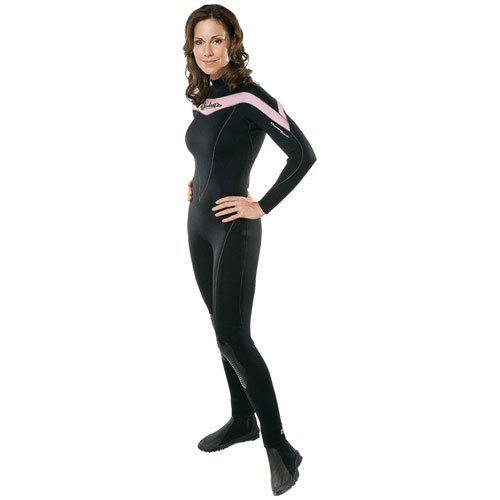 Henderson Thermoprene 7mm Women's Jumpsuit (Back Zip) ~ Dive Pink & Fight Breast Cancer. Includes a $50 Donation. - Black/Pink - Large, 10