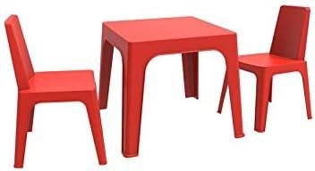 resol Julieta set infantil de 2 sillas y 1 mesa para interior, exterior, jardín - color rojo