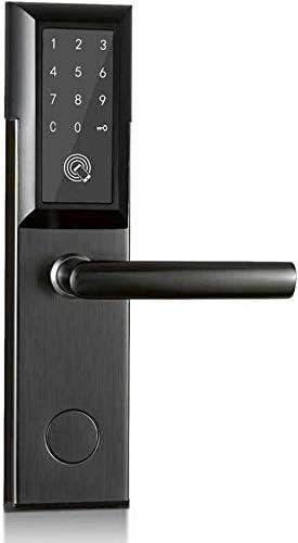 指紋南京錠、Smar Lock、Bluetoothアプリ電子デジタル指紋南京錠WiFiコントロールタッチキーパッドコードカードキーレスエントリ指紋南京錠、3つのロック解除方法、すべての木製ドア、シルバー