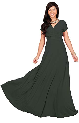 KOH KOH Petite Womens Long Cap Short Sleeve V-neck Flowy Cocktail Slimming Summer Sexy Casual Formal Sun Sundress Work Cute Gown Gowns Maxi Dress Dresses, Olive Green XS 2-4
