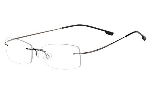 Agstum Mens Womens Titanium Alloy Flexible Rimless Frame Prescription Eyeglasses 51mm (Gunmetal, - Eyeglass Flexible Frames Metal