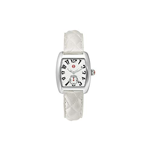 MICHELE Women's Urban Mini Swiss Quartz Stainless Steel and Quited Leather Luxury Watch Silver White (MWW02A000381)