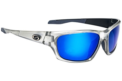 Strike King Plus SG-SKP430 Cypress Polarized Sunglasses Clear Silver Black Two Tone Frame and Blue Mirror Gray Base ()