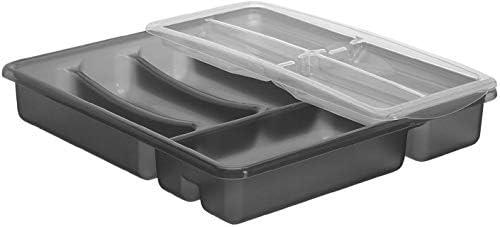 Rotho 1752290001 Cubertería Basic 6 Compartimentos y además topg Escalera, cajón para Cubiertos de plástico, plástico, Antracita/Transparente, 39 x 32 x 7 cm: Amazon.es: Hogar