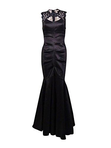 Xscape Women's Metallic Lace Trimmed Taffeta Mermaid Dress (14P, Black) by Xscape