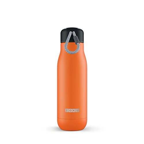 Zoku Stainless Steel Water Bottle 18-Ounce; Orange; Leak-Proof & Spill Proof; Durable Paracord Lanyard Cap, Double-Walled Vacuum Insulated; Large 1-1/2-Inch Diameter Mouth Opening (Lime Bronze Wall)