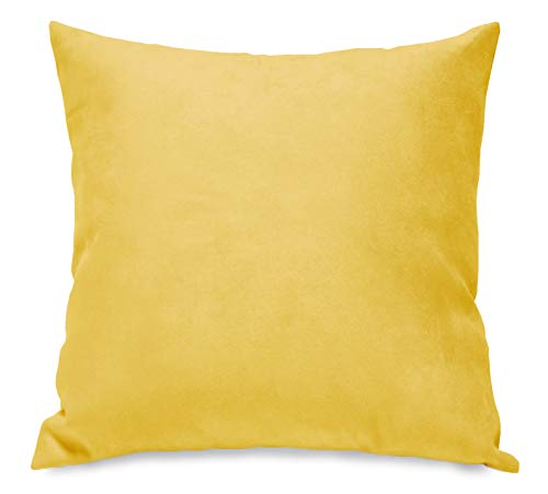 Aiking Home Collection Creative Luxury Faux Suede Pillow Cover/Euro Sham - 26 By 26 Yellow