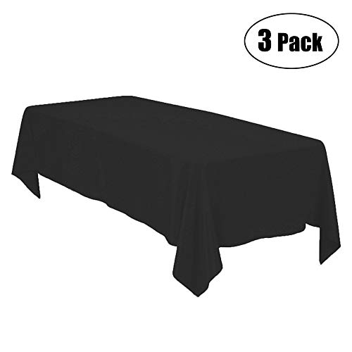 Minel Disposable Party Table Cloths Rectangular 3 Pack Black