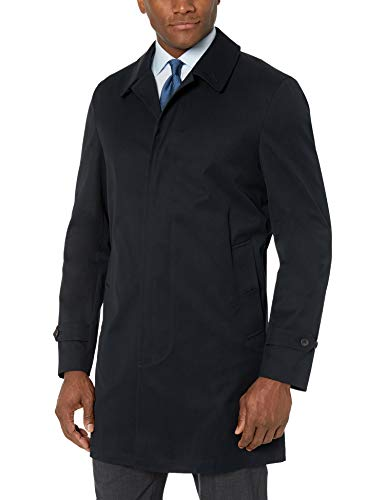 BUTTONED DOWN Men's Water-Repellant Cotton-Blend Car Coat, Black, 42 Short