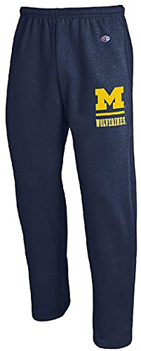 (Champion Michigan Wolverines Adult Blue Open Bottom Powerblend Sweatpants (XL=37-38) )