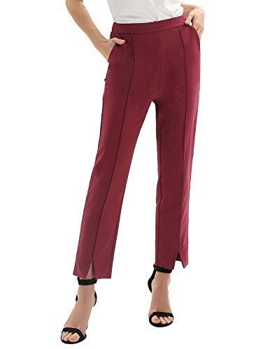 (Women Casual High Waist Relaxed Fit Beach Pants Trouser with Pockets Red M)