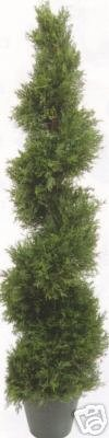 One 5 Foot 4 Inch Artificial Cypress Spiral Topiary Tree Potted Indoor or ()