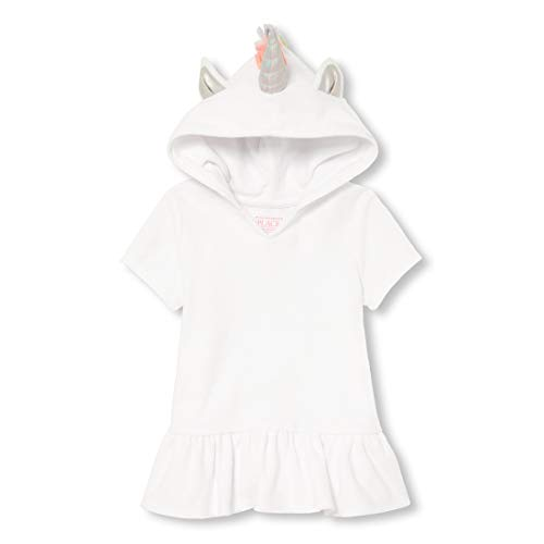 The Children's Place Baby Girls Novelty Hooded Pool Cover-ups, White 4T