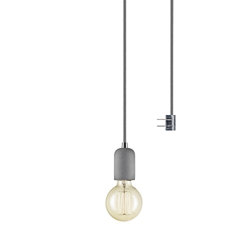 1 Light Parlor Pendant (Globe Electric Virginia 1-Light Plug-In or Hardwire Concrete Mini Pendant, 15' Gray Woven Fabric Cord, In-Line On/Off Switch, Bulb Included, 65857)