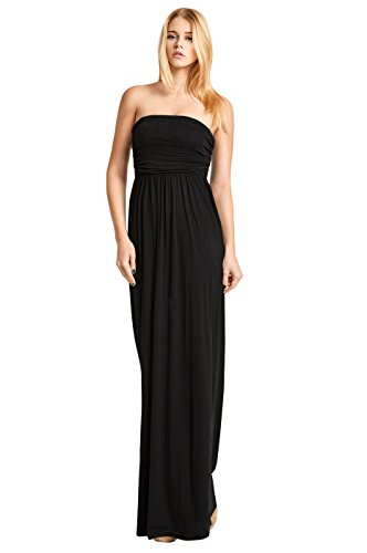Women's Classic Strapless Tube Top Maxi Dress (S, Black)