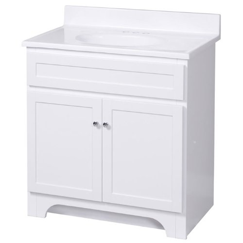 Foremost Chrome Vanity - Foremost COWAT3018 Columbia 30-Inch White Vanity with Marble Top