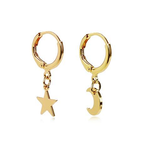 Women Girls Small Hoop Drop Earrings Star Moon Pearl Triangle Feather Dangle Earrings (Gold Star and Moon) ()