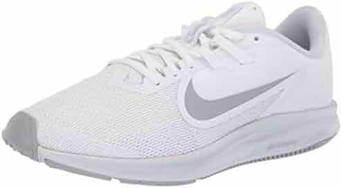 9b2ab8c0a Nike Women's Downshifter 9 Running Shoe, White/Wolf Grey-Pure Platinum, 7.5