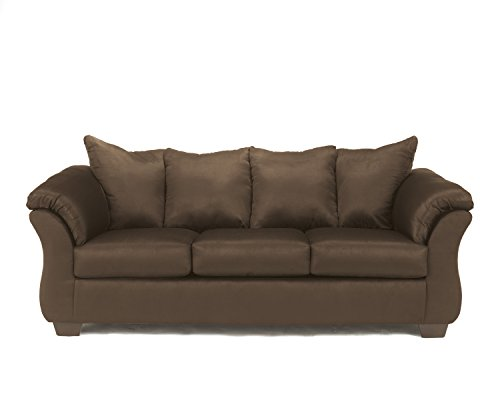 - Ashley Furniture Signature Design - Darcy Contemporary Microfiber Sofa - Café