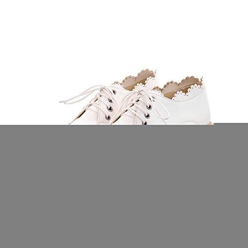 WeenFashion Closed Women's Pumps 7 Round Platform Toe 5 whith Heel M Wedge US PU White Solid B Bandage Mid q5qrd