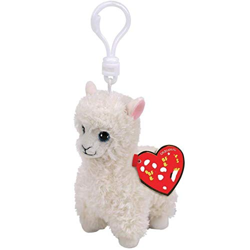 SJSXT Babies 9cm Lily The White Llama Clip Plush Keyring Stuffed Animal Collection Soft Doll Toy with Heart -