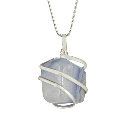 Lace Agate Oval Pendant - Blue Lace Agate Gemstone Pendant Necklace - Natural Crystal Healing | Stone of Encouragement and Support| Throat Chakra & Communication Aid | for Security and Self-Confidence| Jewelry for Men & Women