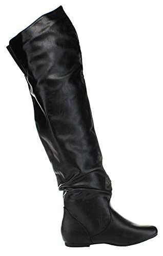 Nature Slouchy Pu Women's HI the Black VICKIE Over Knee Breeze Boots fWwfqrnBR