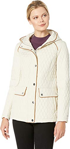 (Tommy Hilfiger Women's Hooded Quilt Double Pocket Jacket Stone Small)