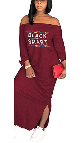 Women's Summer Color Block Half Sleeve Split Loose Shift Maxi Dress Wine Red