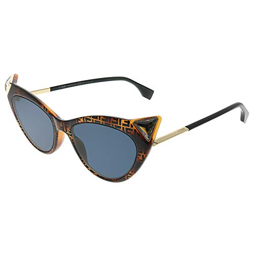 Fendi Women's Logo Cat Eye Sunglasses, Dark Havana, Brown, Print, One ()