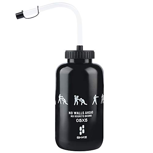 SHOKE Lacrosse Water Bottle with Long Straw BPA Free Plastic Goalie Boxing Water Bottles 32 Oz 1 Liter for Sport Black/Red Perfect for Hockey Football ()