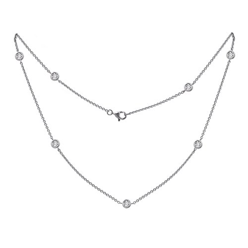 Diamonbliss Rhodium Plated Sterling Silver 1.85 cttw Cubic Zirconia Station Necklace (Necklace Zirconia Fashion Cubic 16')