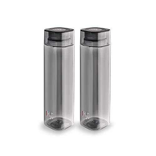 Cello H2O Squaremate Plastic Water Bottle, 1-Liter, Set of 2, Black Price & Reviews