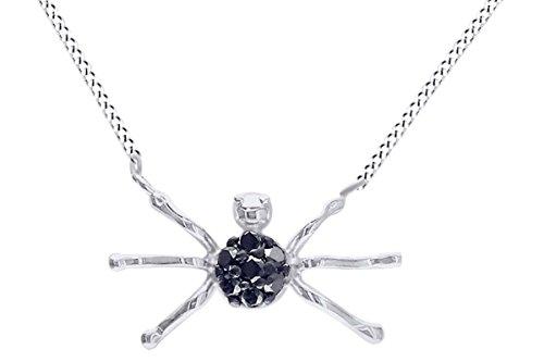 Spider Pendant Necklace In 14k Solid White Gold Round Cut Black Natural Diamond (0.35 (White Diamond Spider)