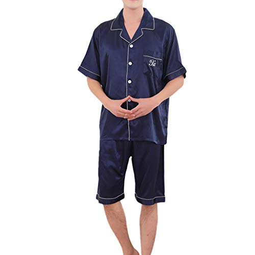 - Men's Short Sleeve Satin Pajama Set with Shorts Sleepwear Silk Loungewear Blue