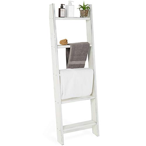 (MyGift 4.5-Foot Vintage White Decorative Blanket Storage Ladder)