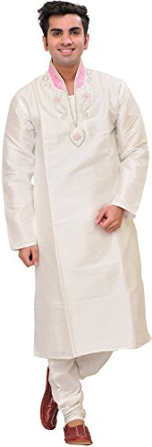 Exotic India Snow-White Wedding Kurta Pajama Set With H Size 40 by Exotic India