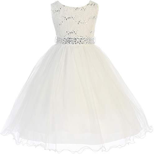 Big Girl Glitters Sequined Bodice Double Layer Tulle Rhinestones Sash Flower Girl Dress Ivory 10 JK3670