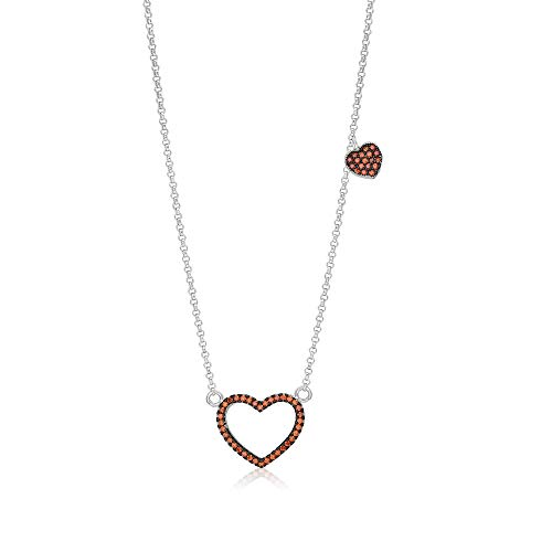 Girls Sterling Silver 925 Orange Heart Necklace Cubic Zirconia Black Rhodium Plated Pendant With 15