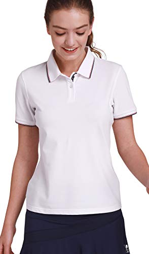 (CAMEL CROWN Womens Cotton Golf Polo Shirts Short Sleeve Plain t Shirts Sport Apparel White)