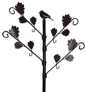 Benba brand Wild Bird-Mangiatoia per uccelli con foro motivo a foglie, colore  Marroneee