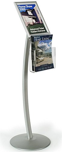 Sign Stand with Aluminum Snap Open Picture Frame and Clear Acrylic Brochure Holder for 8.5x11 Magazine, Free Standing Poster Display Holder - Aluminum and Steel, Silver