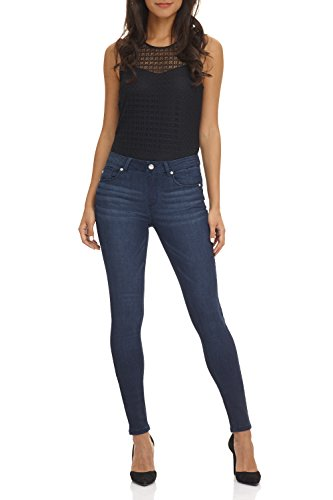 Rekucci Women's Ease In To Comfort Super Soft 5 Pocket Denim Skinny Leg (6,Midnight Whiskers)