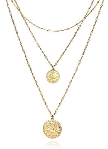 - POMINA Boho Multi-Layered Coin Pendant Necklace for Women ((A) Worn Gold)