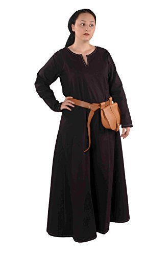 Freya Scandinavian Medieval Viking Linen-Look Cotton Dress-Made in Turkey, -