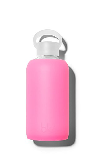 bkr - BEST Original Glass Water Bottle - Premium Quality - Soft Silicone Protective Sleeve - BPA Free - Dishwasher Safe (16oz/500ml)-Bambi - Sheer Neon Pink (Original Glass Bottle)