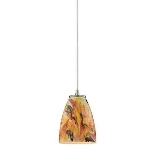 Alumbrada Collection Abstractions 1 Light Pendant In Satin Nickel