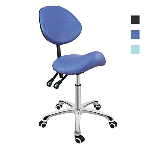 Salon Studio - Grace & Grace Professional Saddle Stool Series Hydraulic Swivel Comfortable Ergonomic with Heavy Duty Metal Base for Clinic Dentist Spa Massage Salons Studio (With Backrest, Blue)